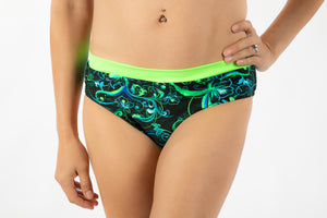 Bikini, banded with scrunch-back, Foil on black with neon lime, turquoise