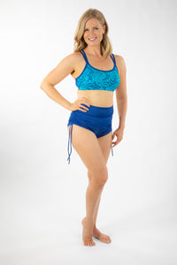 Bra top, strappy, with Turquoise lace on Blueberry