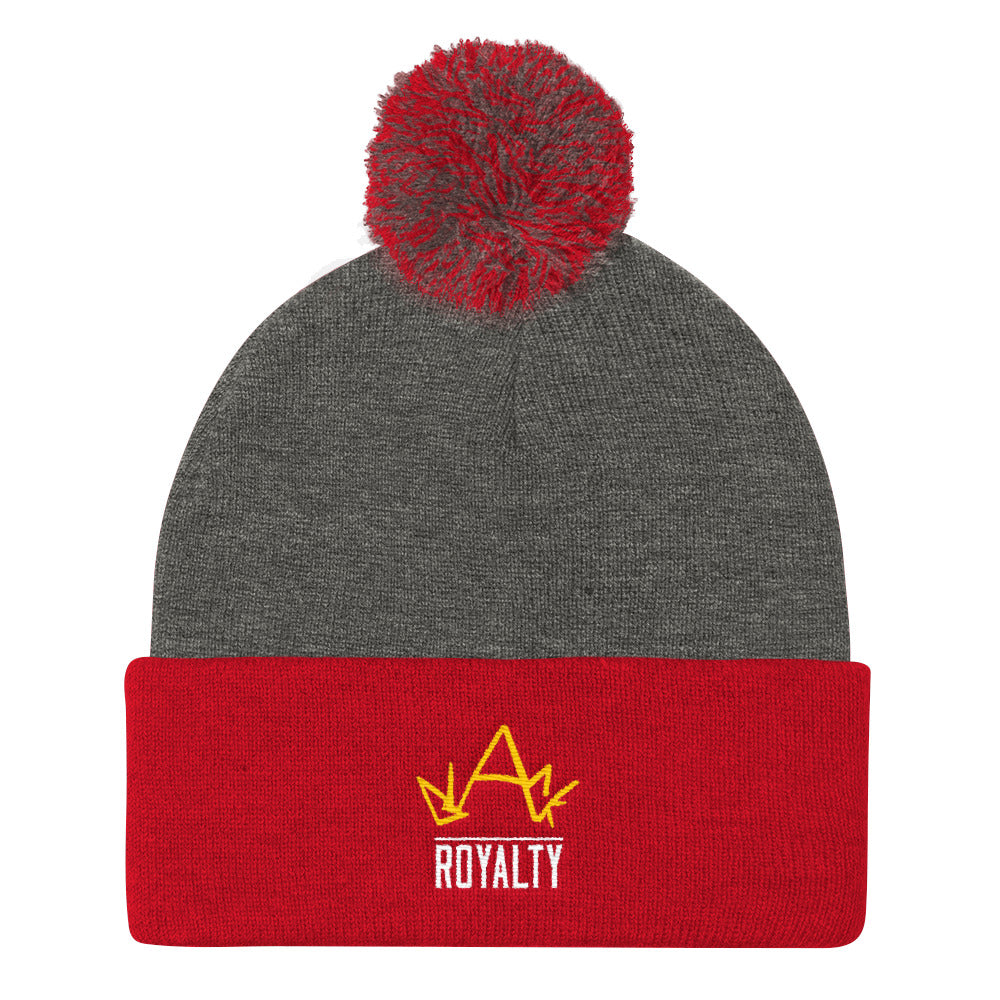 Blck Royalty Pom Pom Knit Cap