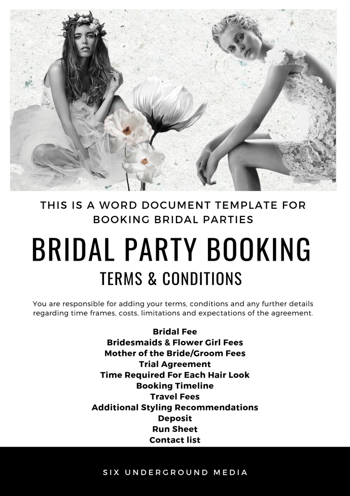 Bridal Booking Agreement - NOW AVAILABLE