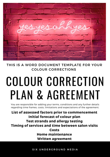 Colour Correction Plan & Agreement
