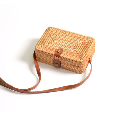 Woven Straw Crossbody Bag Rectangle