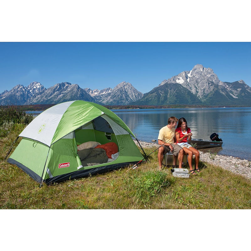 Coleman  4 Person Sundome Tent with 2 Palmetto Cool Weather Adult Sleeping Bag - fashionstuff123