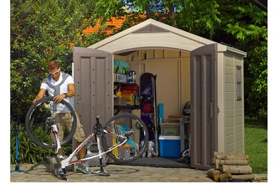 Keter Factor 8 ft. 5 in. W x 6 ft. D Storage Shed - fashionstuff123