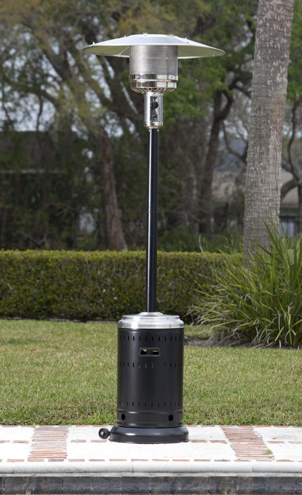 Fire Sense Hammer Tone Black And Stainless Steel 46,000 BTU Commercial Patio  Heater