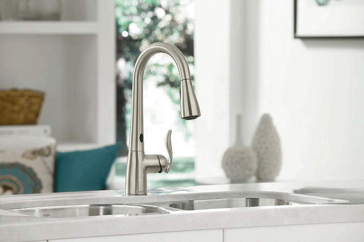 Moen 7594ESRS Two-Sensor Touchless One-Handle High Arc Pulldown Kitchen Faucet - fashionstuff123