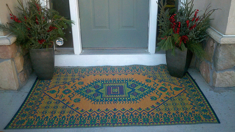 Mad Mats Oriental Turkish Indoor/Outdoor Floor Mat Rugs, Aqua - fashionstuff123
