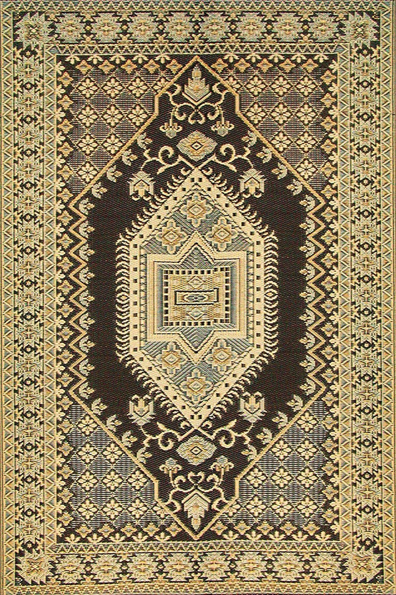 Mad Mats Oriental Turkish Indoor/Outdoor Floor Mat Rugs, Brown and Black - fashionstuff123