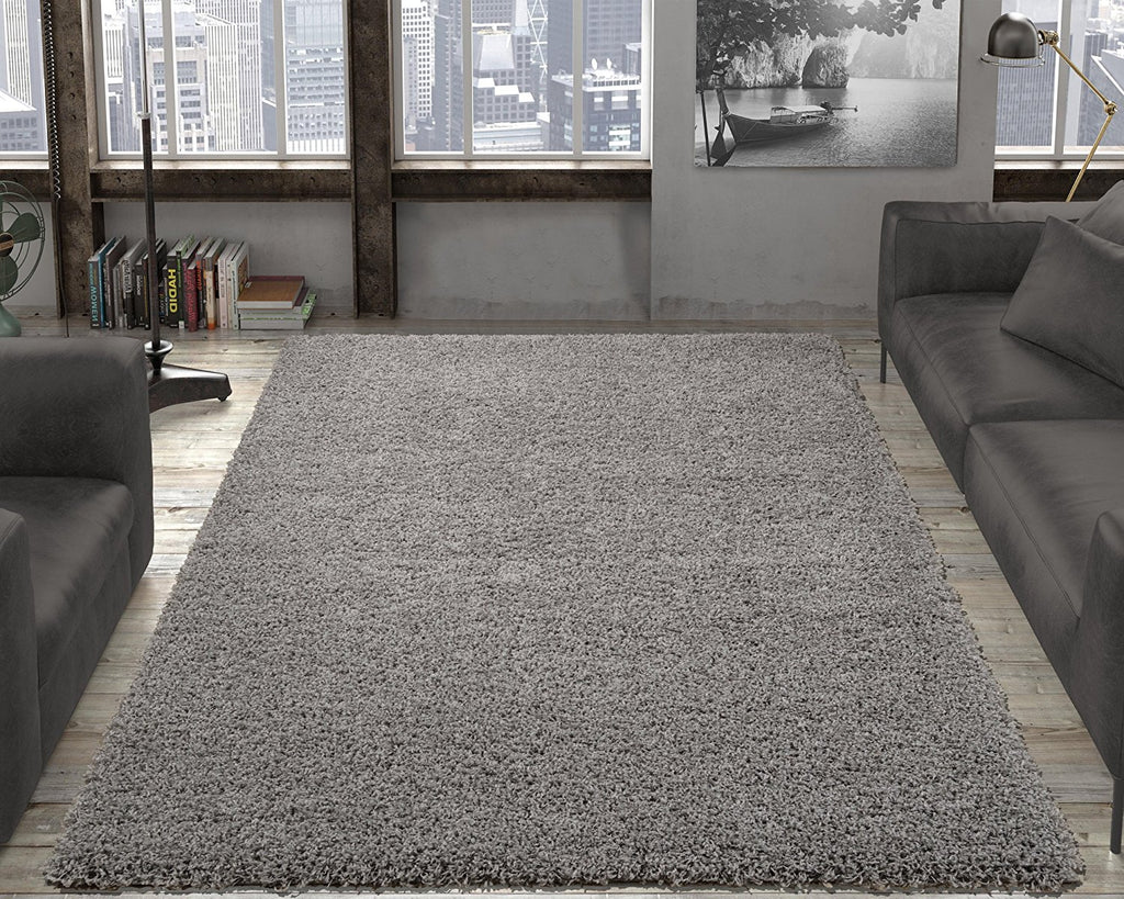 Ottomanson Contemporary Living and Bedroom Soft Shag Area Rug Indoor Rug, Grey - fashionstuff123
