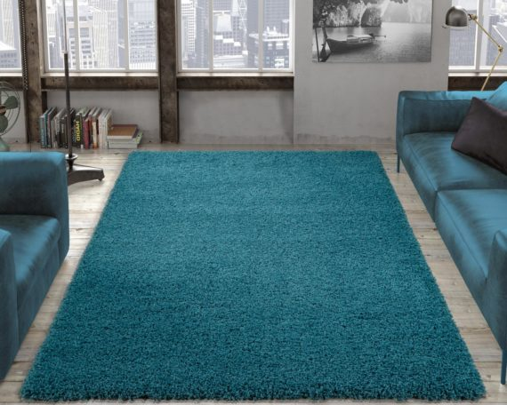 Ottomanson Contemporary Living and Bedroom Soft Shag Area Rug Indoor Rug, Turquoise Blue - fashionstuff123