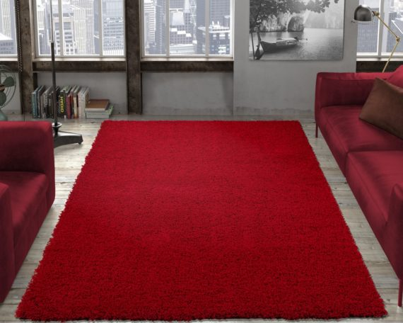 Ottomanson Contemporary Living and Bedroom Soft Shag Area Rug Indoor Rug, Red - fashionstuff123