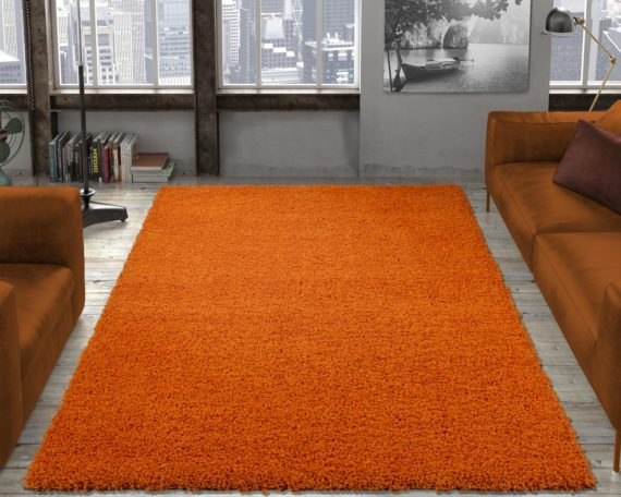 Ottomanson Contemporary Living and Bedroom Soft Shag Area Rug Indoor Rug, Orange - fashionstuff123