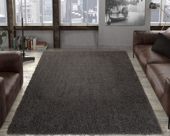 Ottomanson Contemporary Living and Bedroom Soft Shag Area Rug Indoor Rug, Dark Grey - fashionstuff123