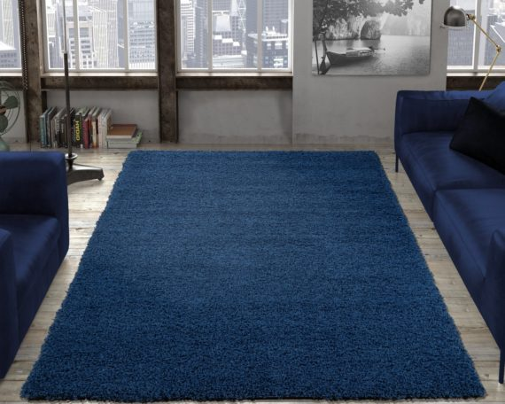 Ottomanson Contemporary Living and Bedroom Soft Shag Area Rug Indoor Rug, Navy - fashionstuff123