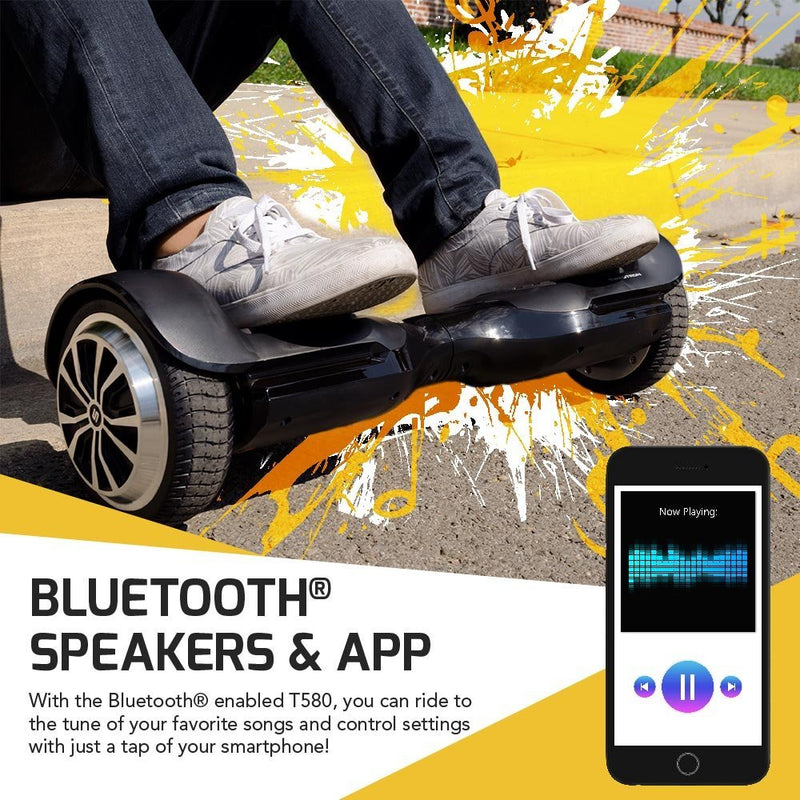 Swagtron T580 iPhone/Android App-Enabled with Bluetooth Speaker Smart Self-Balancing Hoverboard - fashionstuff123