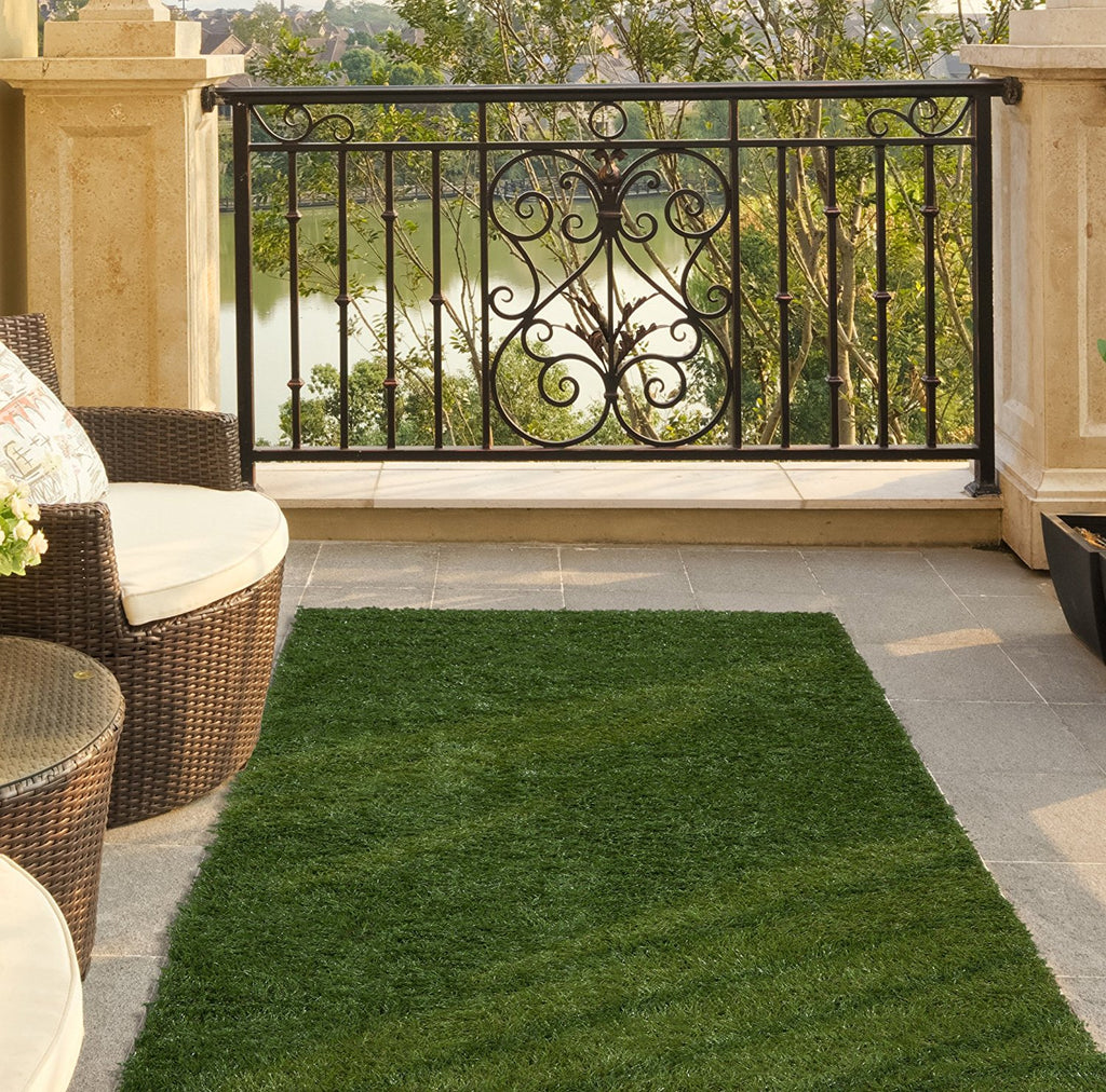 Ottomanson Garden Outdoor Artificial Solid Grass Design Area Rug, Green Turf - fashionstuff123
