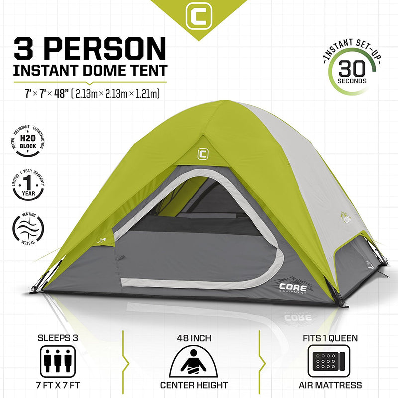 CORE  3 Person Instant Dome Tent, 7' x 7' - fashionstuff123