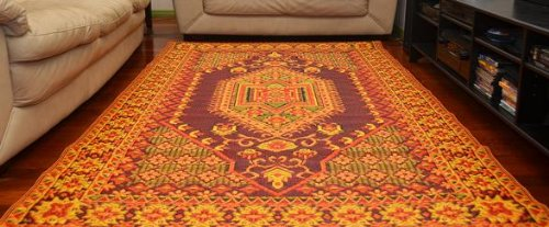 Mad Mats Oriental Turkish Indoor/Outdoor Floor Mat Rugs, Rust - fashionstuff123