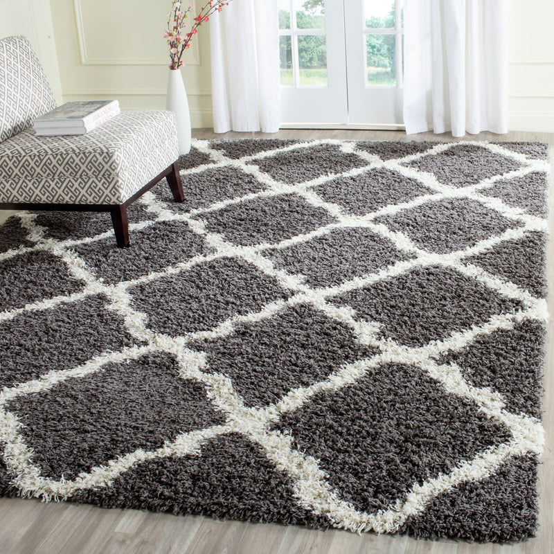 Safavieh SGD257A Dallas Shag Area Rug, Dark Grey and Ivory - fashionstuff123
