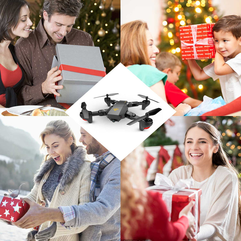 Fairzones Mini Foldable Selfie Drone With Camera 2MP 120° Wide Angle HD Camera 2.4G Wifi FPV RC Quadcopter Gravity Sensor Altitude Hold 3D Flips Rolls 6-Axis Gyro RTF RC Drones - fashionstuff123