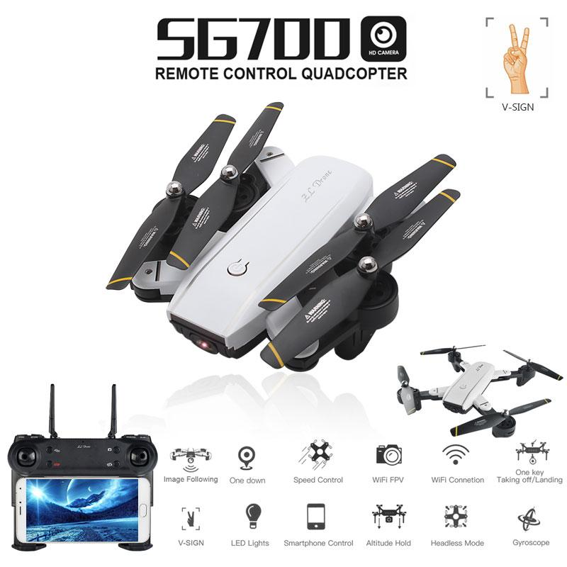 SG700 0.3MP/2MP Rc Quadcopter with Camera Wifi FPV Foldable Altitude Hold Headless Selfie Drone - fashionstuff123