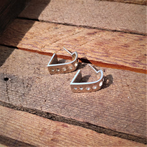 Heart Hoop Stud Earrings