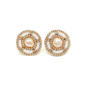Ivory Freshwater Pearl Stud Earrings