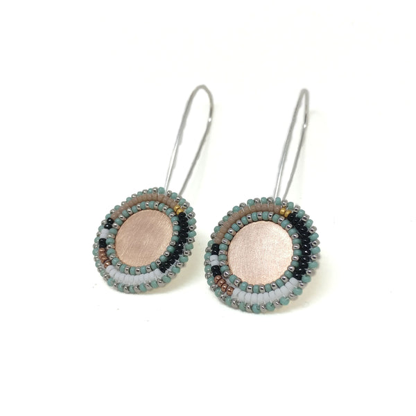 Rose Color Block Sterling Silver Dangle Earrings