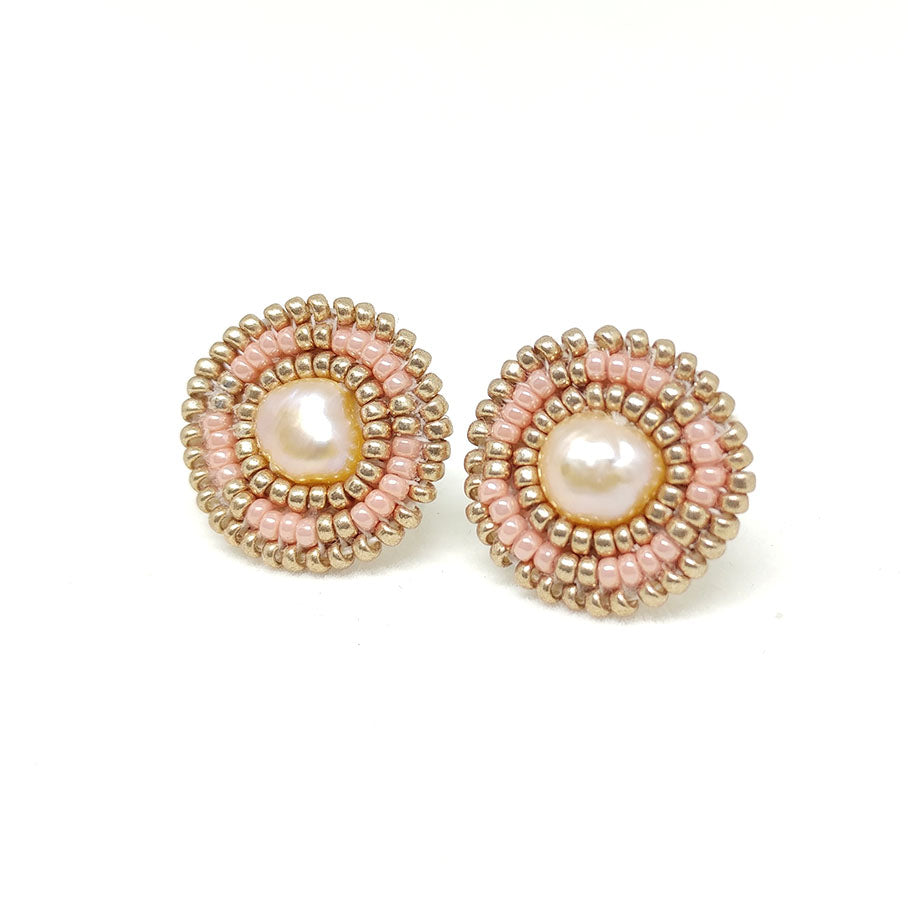 Salmon Freshwater Pearl Stud Earrings