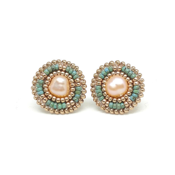 Turquoise Blue Freshwater Pearl Stud Earrings