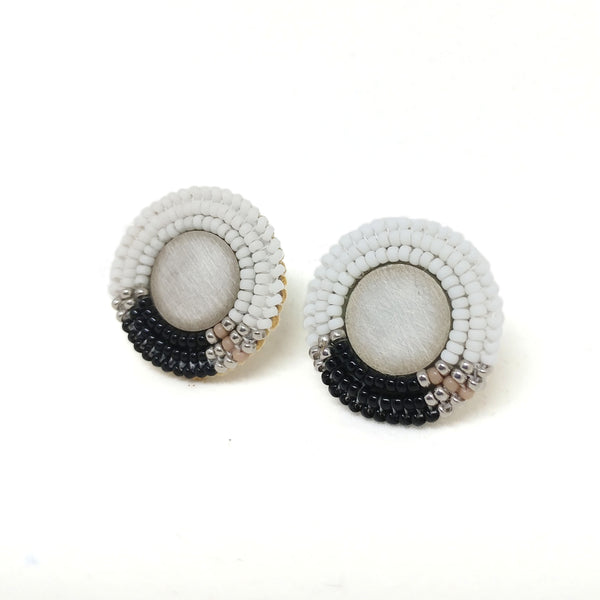 Black & White Color Block Stud Earrings