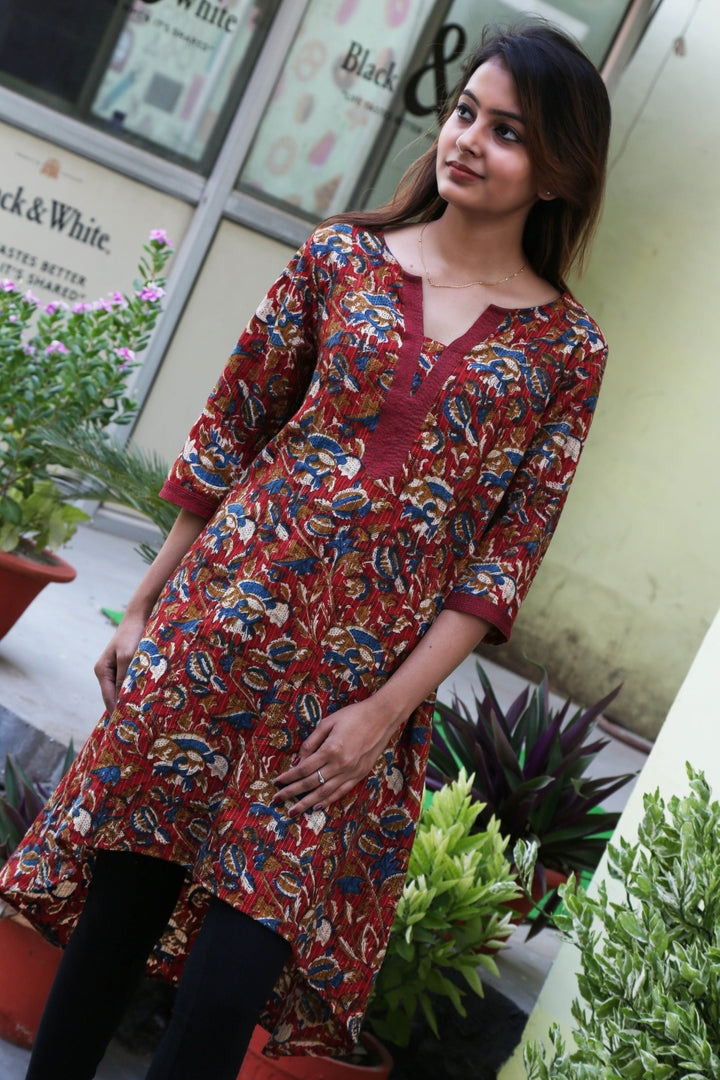 Ara Pure Cotton Embroidered Block Print Tunic with High Low Hem