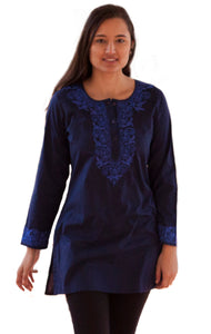 ADITI Pure Cotton Round Neck, Hand Embroidered Tunic, Kurti, Regular and Plus Sizes