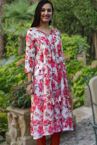 Aira Printed Pure Soft Cotton Tiered Long Tunic Kurta Dress: Made to Order/Customizable