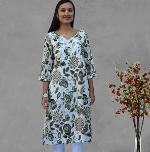 AMAL Printed Pure Soft Cotton Long Tunic Kurta Dress: Made to Order
