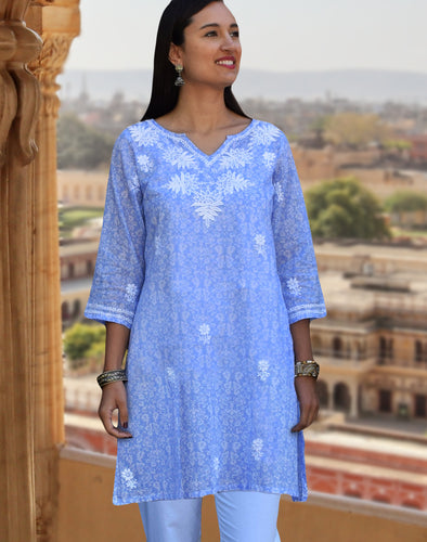 AMALA Pure Cotton, Light Weight, Printed, Hand Embroidered Tunic Top Kurti