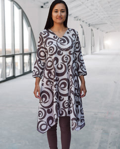 Amy Printed Pure Soft Cotton Uneven Hem Long Tunic Kurta Dress: Made to Order/Customizable