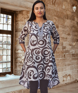 Ara Pure Cotton Embroidered Block Print Style Tunic with High Low Hem