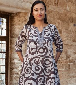 ARAind Printed Pure Cotton Embroidered Long Tunic Kurta Dress: Made to Order
