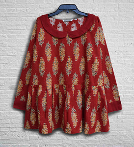 AVNI Printed Soft Cotton Hand Embroidered Tunic Top: Made to Order/Customizable
