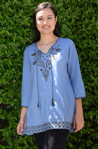 AYO Pure Cotton, Embroidered Tunic, Top, Kurti, with Tassles