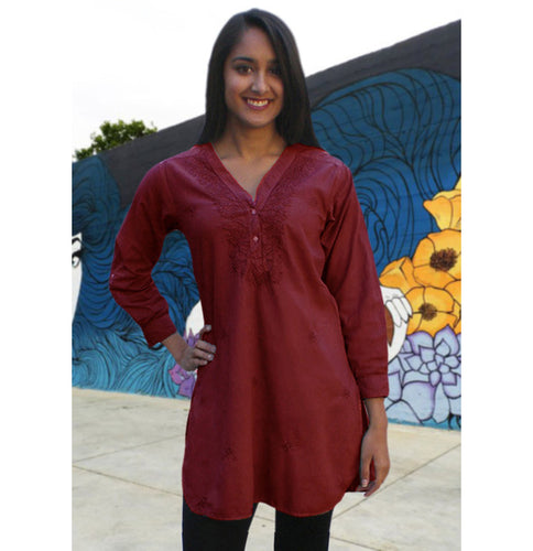 Uma Hand Embroidered Pure Cotton Shirt Tunic (Regular Sizes)