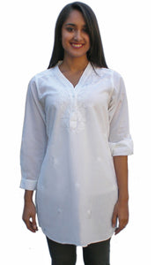 Uma Hand Embroidered Pure Cotton Shirt Tunic (Plus Sizes)
