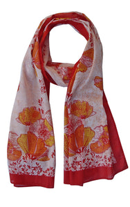 California Poppy Soft Cotton Printed Scarf