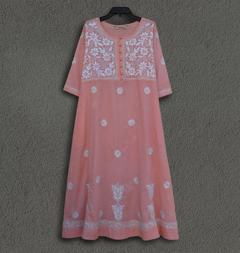 CHANDANI Pure Cotton Hand Embroidered A Line Tunic Dress Kurta: Made to Order/Customizable