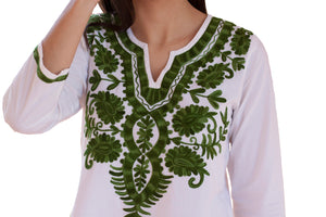 IVY Embroidered Mirror Work Printed Pure Cotton Tunic