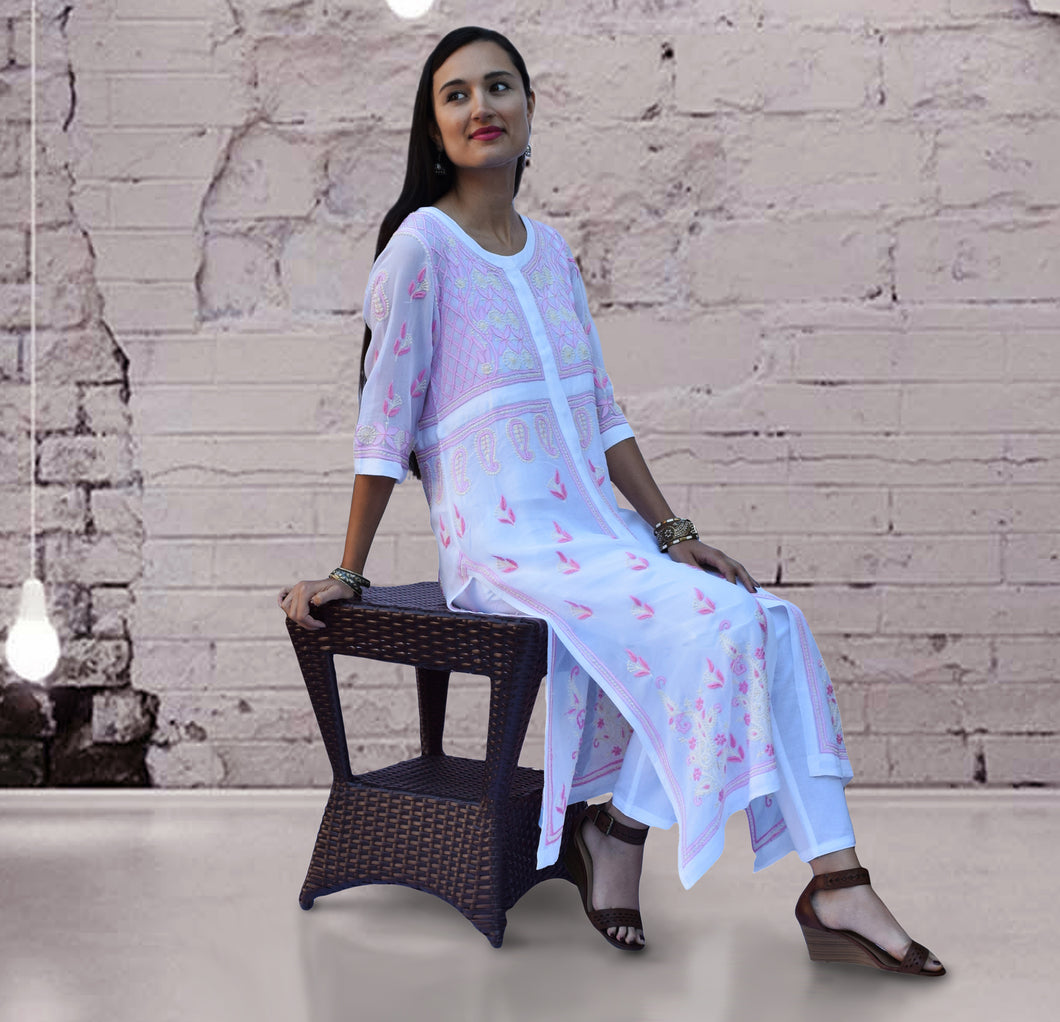 IKANA Georgette Embroidered Long Tunic Kurta Dress; Made to Order/Customizable