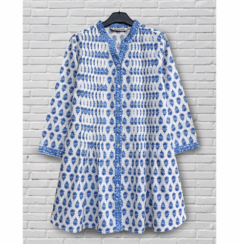 Juno Pure Cotton Block Print Front Pleated Tunic