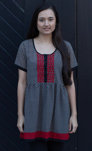JANKI Hand Embroidered Printed Georgette Tunic