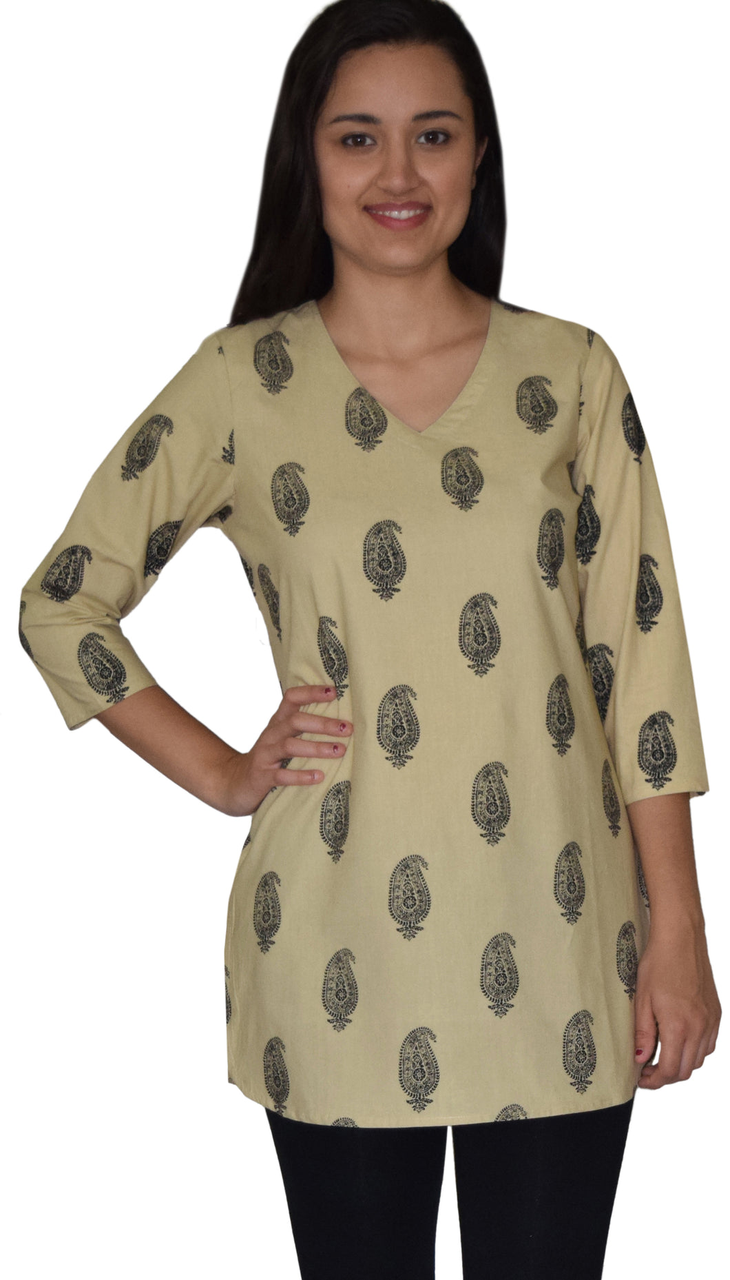 KRITIvint Block Printed Pure Cotton Tunic Top Kurti